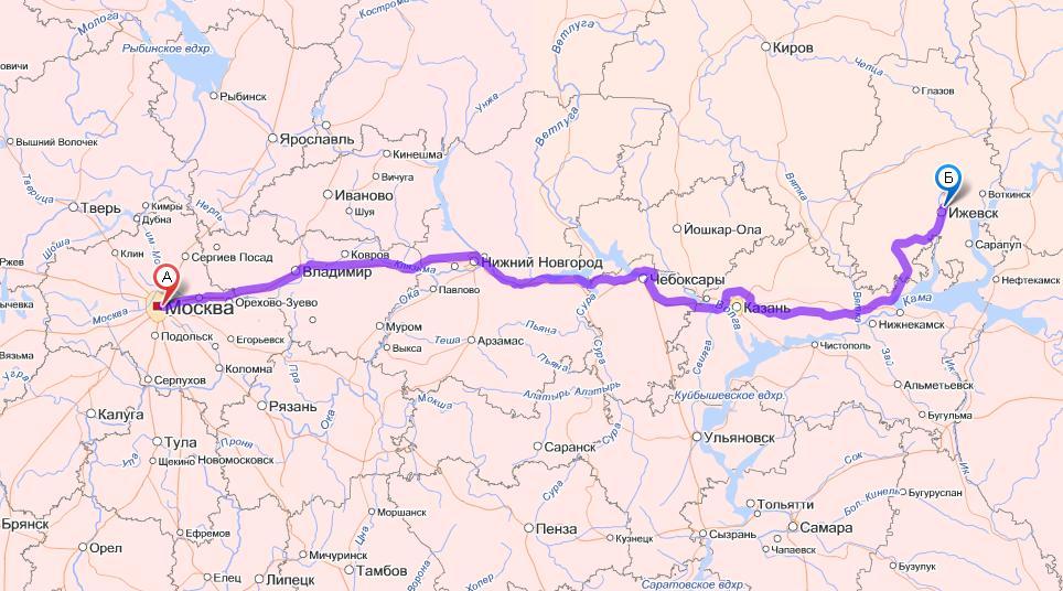 Схема маршрутов Москвы.